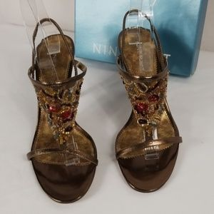 Nine West Saphyra Bronze Leather SZ 8 1/2